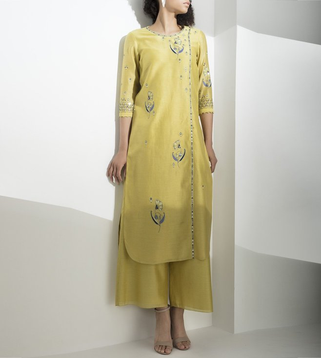AM:PM Lime Embroidered Chanderi Tunic Set