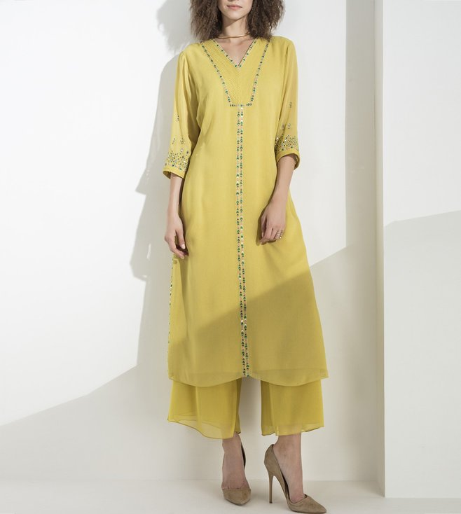 AM:PM Lime Embellished Georgette Tunic Set