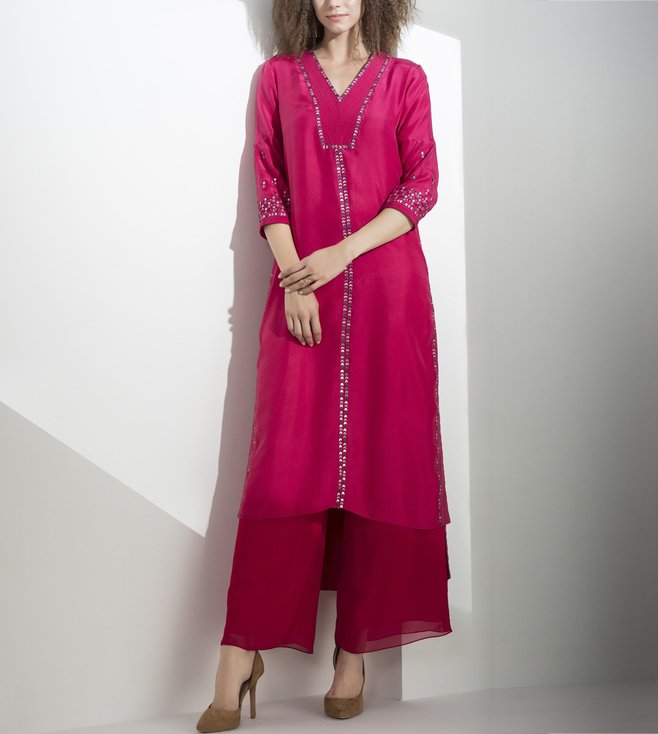 AM:PM Fuchsia Embellished Georgette Tunic Set