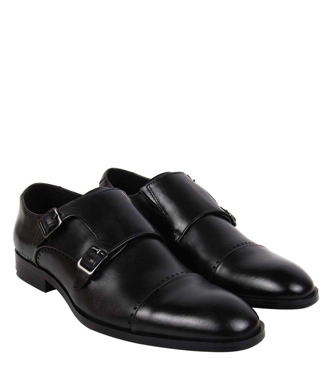 Buy Steve Madden Black Mantle Leather Monk Strap Shoes For Manual Guide