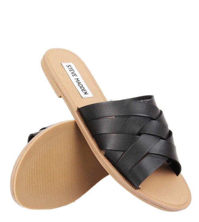 2196d2c98ba Buy Steve Madden Black Gabriella Leather Slip On Slides for Women ...