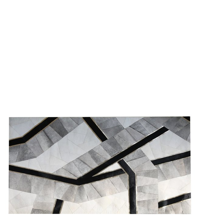 Buy Casa Pop Black White Abstract Hair On Leather Rug