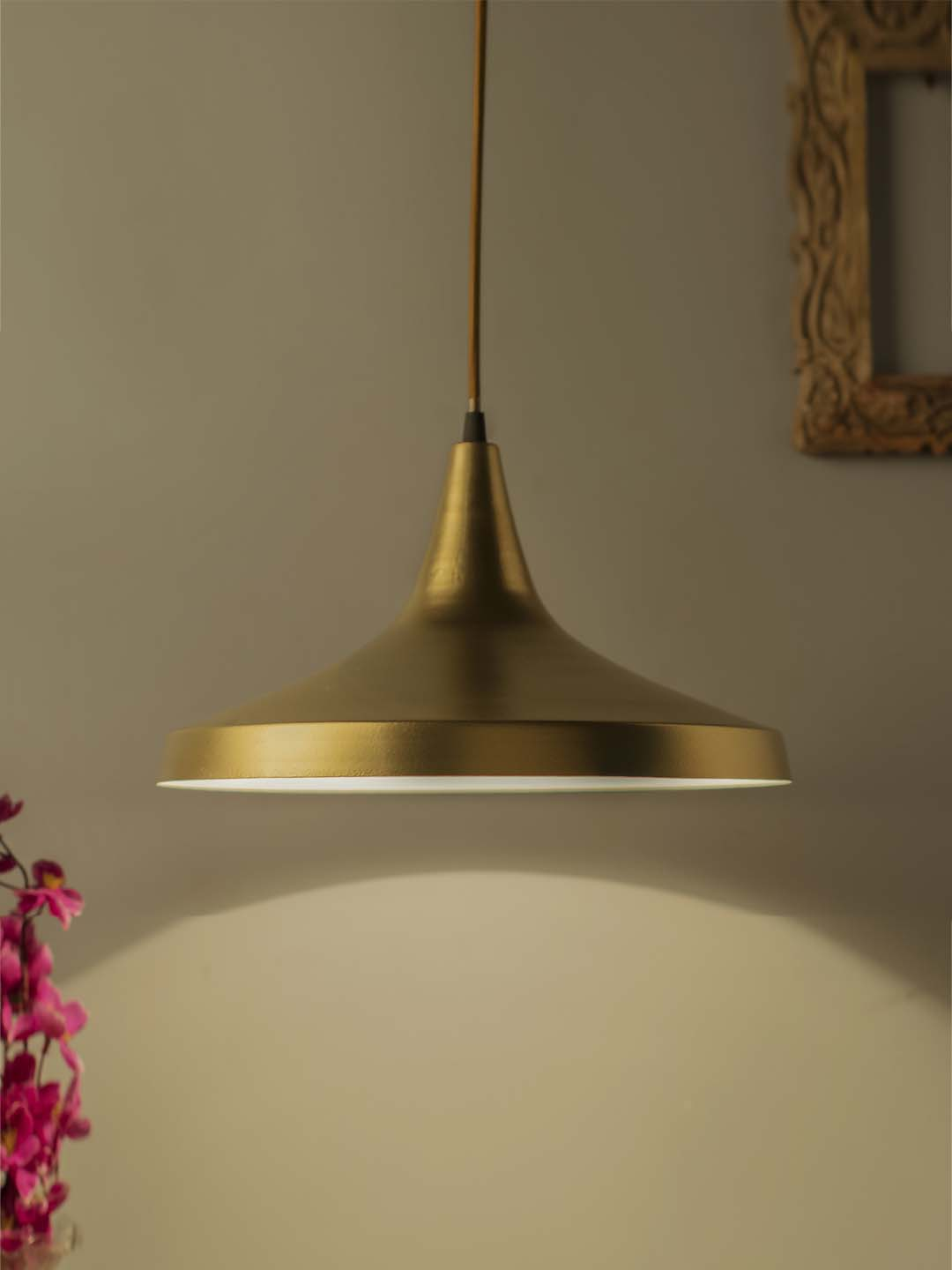 Homesake Golden Metal Loft Lamp Shade Shaped Hanging Lamp Set Of 1 From Homesake At Best Prices On Tata Cliq