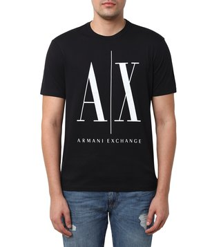 Armani Exchange Black Regular Fit Logo Crew T-Shirt