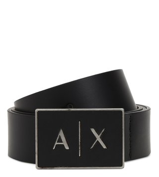 Armani Exchange Nero Leather Waist Belt