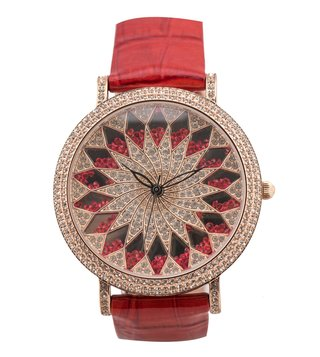 Jaipur Watch Company Rose Gold & Red Envika Wrist Watch for Women