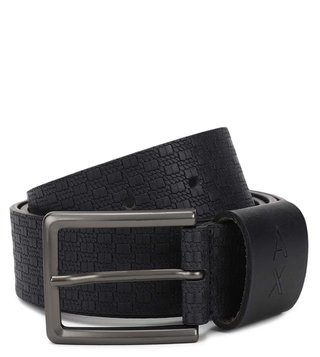 Armani Exchange Black Braid Leather Waist Belt