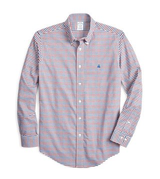 Brooks Brothers Open White Regent Fit Yarn Dye Checked Sport Shirt