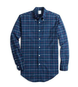 Brooks Brothers Blue Regent Fit Yarn Dye Checked Sport Shirt