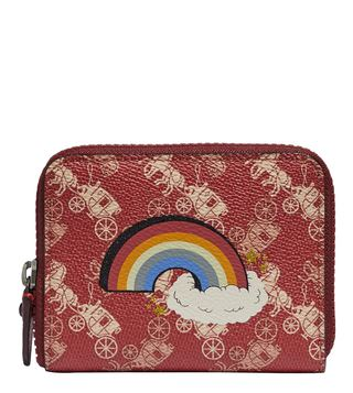 Coach Red Rainbow Zip Around Small Wallet