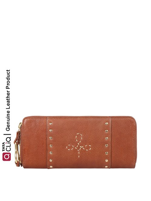 Hidesign Wild West Brown Embroidered Zip Around Wallet for Women