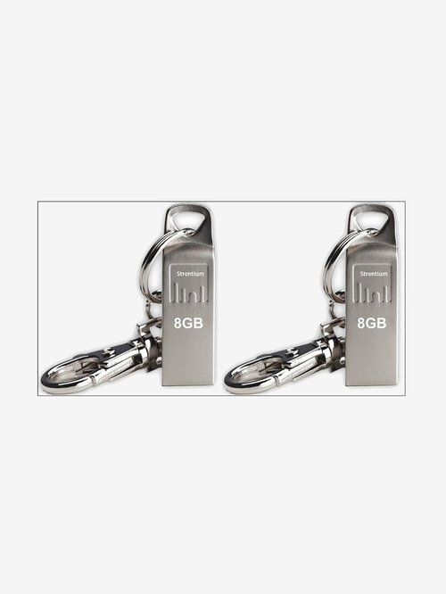 Strontium AMMO 8  GB Pen Drive  Silver   Pack of 2