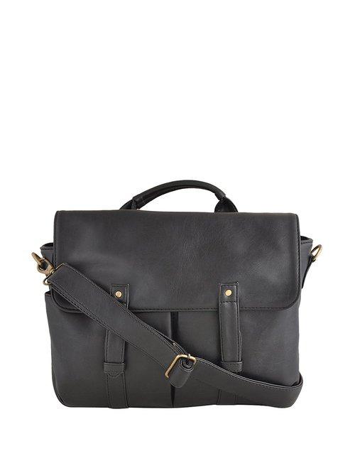 Yelloe Black Medium Laptop Messenger Bag