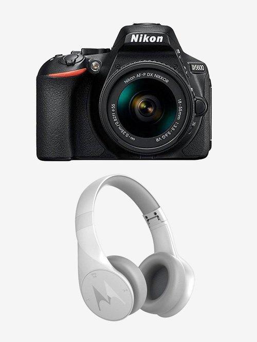 Nikon D5600  AF S 18 140mm VR Kit Lens  DSLR Camera + Motorola Pulse Escape SH012 BT Headphone