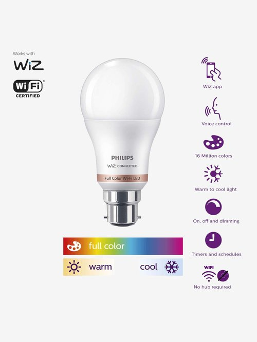 Philips B22 9W Smart Wi Fi WiZ Connected LED Smart Bulb  White