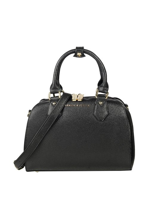 Lemon   Pepper Lexi Black Textured Medium Handbag