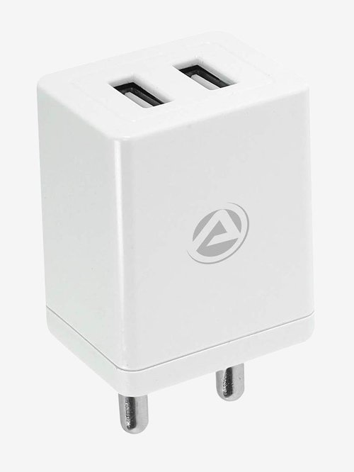 ARU AR 304 3.4A Dual Port Charger with Charging   sync USB Cable  White