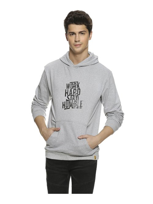 Campus Sutra Grey Printed Full Sleeves Hooded Sweatshirt