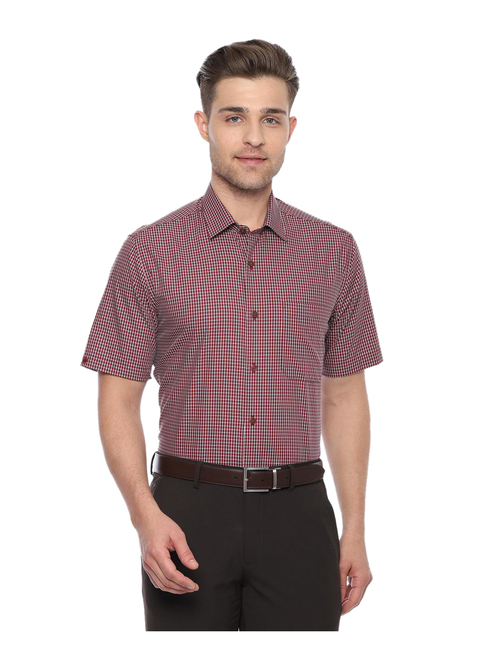Louis Philippe Maroon Checks Shirt