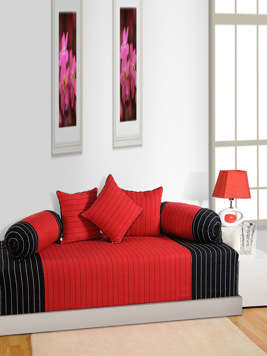 Swayam Magical Linea Red Black Cotton 180 Tc Diwan Set From Swayam At Best Prices On Tata Cliq