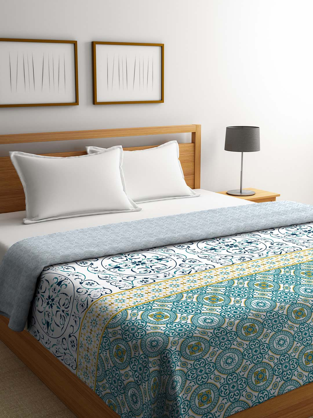 Portico New York Mosaics 100 Cotton Blue White Comforter Set Of 1 From Portico New York At Best Prices On Tata Cliq