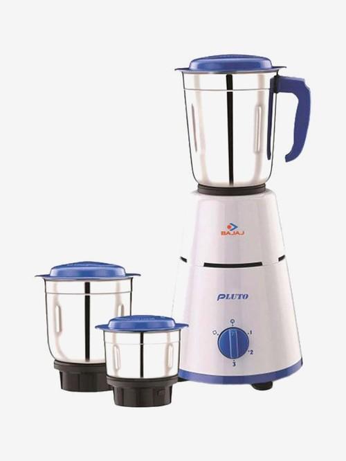 Bajaj Pluto 500 Watt 3 Jar Mixer Grinder (White & Blue)