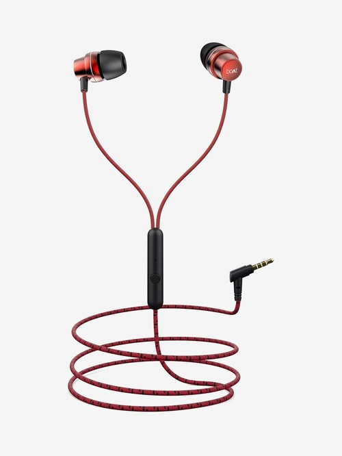 Boat BassHeads 182 Wired Earphones with Mic (Raging Red)