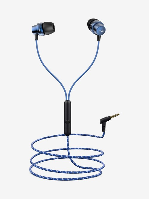 Boat BassHeads 182 Wired Earphones with Mic (Jazzy Blue)