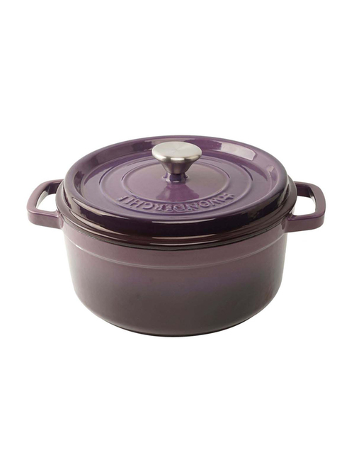 Wonderchef Purple Ferro Cast Iron Casserole 22 cm with Lid   Set of 1