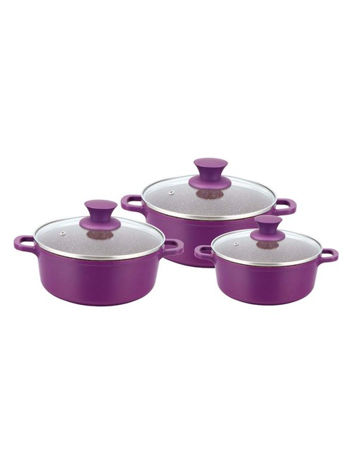 Wonderchef Purple Granite Die Cast Casserole Set   Pack of 3