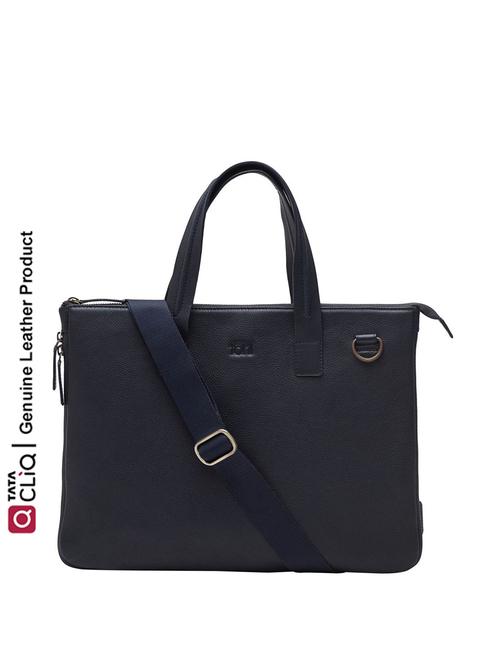 Tohl Mantone Navy Formal Leather Laptop Bag for Men