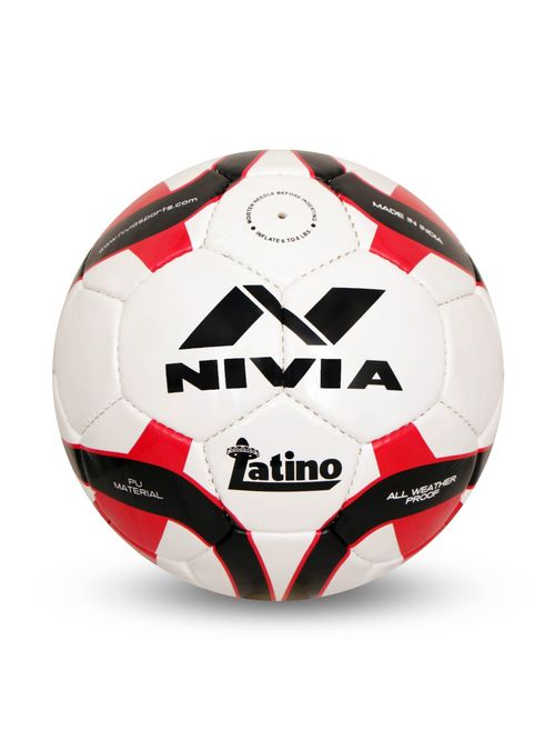 Nivia Latino White   Red Football  Size 5