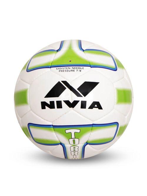 Nivia Equator White   Green Football  Size 5