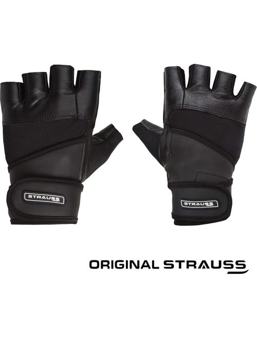 Strauss Leather Finger Cut Gym Gloves With Wrist Wrap  Medium, Black