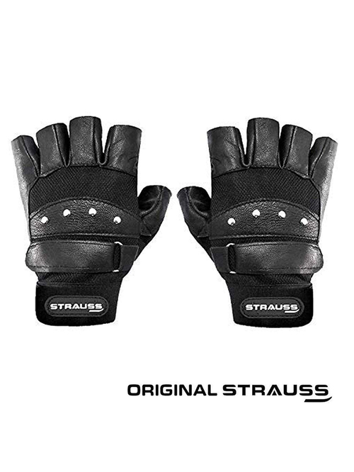 Strauss Tiger Leather Gym Gloves  Medium, Black