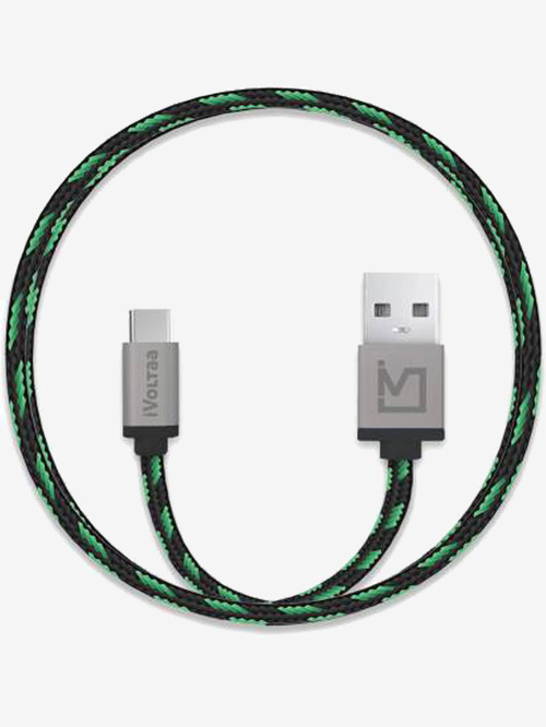 iVoltaa Pixie Braided 2.4 A 1 m USB Type C Cable  Green