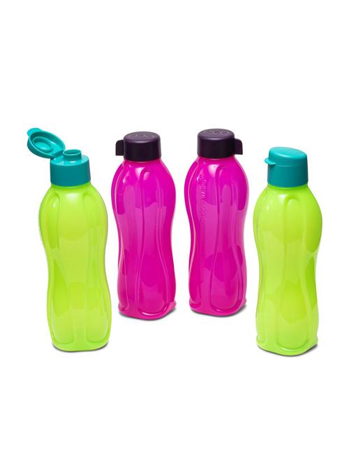 Tupperware Aquasafe Plastic Fliptop Water Bottles  1000 ml    Set of 4