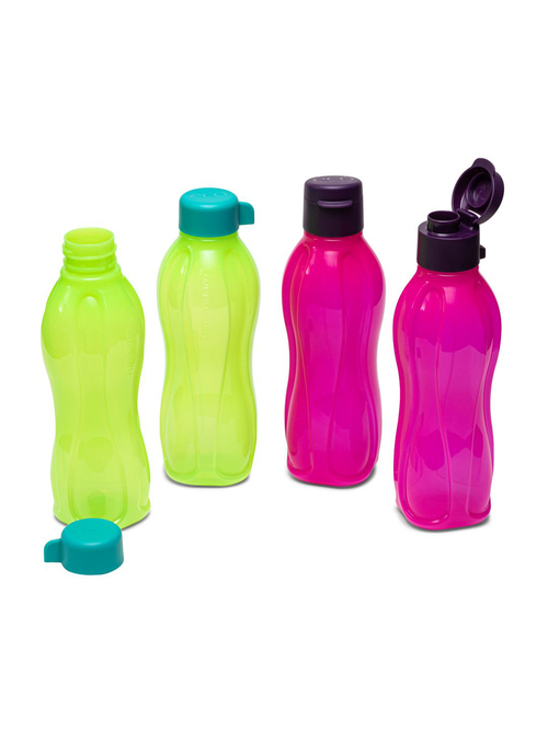 Tupperware Aquasafe Plastic Fliptop Water Bottles  500 ml    Set of 4