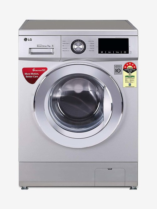 LG 7 kg Inverter 5 Star Fully Automatic Front Load Washing Machine with Heater  FHM1207ZDL, Silver