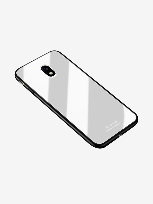 Nkarta Shockproof Mirror Glass Back Mobile Phone Case Covers for Samsung Galaxy J7 Pro  White