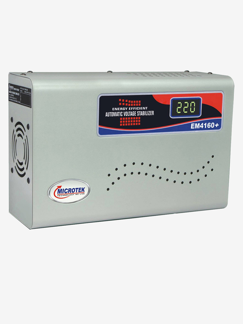 Microtek EM 4160+  160V   285V  Automatic Voltage Stabilizer for 1.5 Ton AC  Metallic Grey