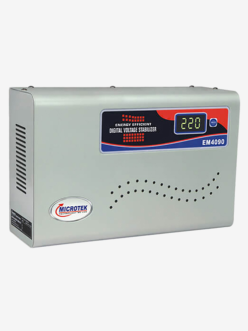 Microtek EM 4090  90V   300V  Automatic Voltage Stabilizer for 1.5 Ton AC  Metallic Grey