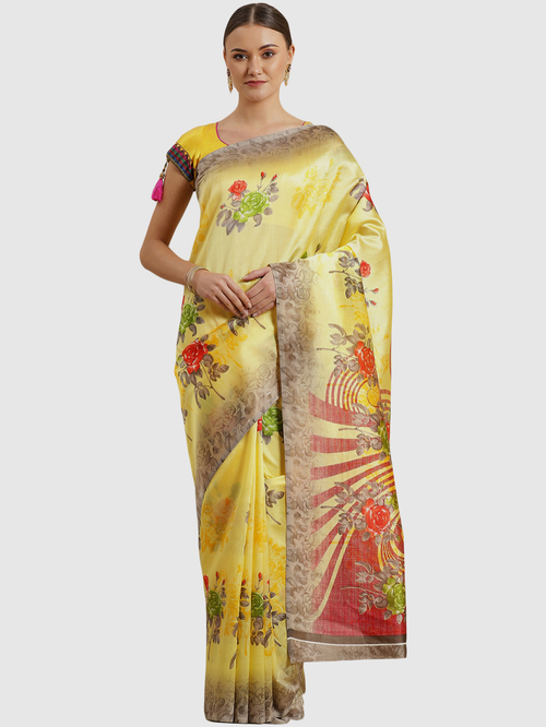 Chhabra 555 Yellow Cotton Floral Print Saree With Unstitched Blouse
