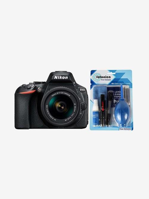 Nikon D5600  AF P 18 55mm VR Lens  DSLR Camera with 16 GB Card, Case   Fotonica Cleaning Kit  Black
