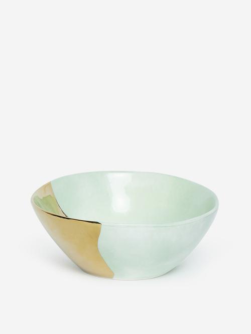 Westside Home Gold And Green Porcelain Bowl