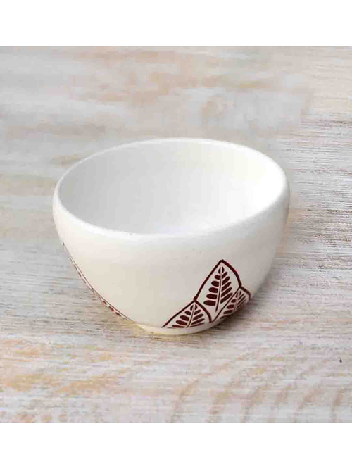 Fanusta Bahaar White Ceramic Bowl  100 ml    Set of 1