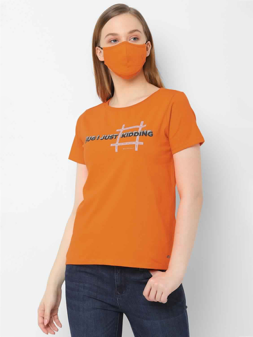 Solly by Allen Solly Orange Printed T-Shirt With Mask