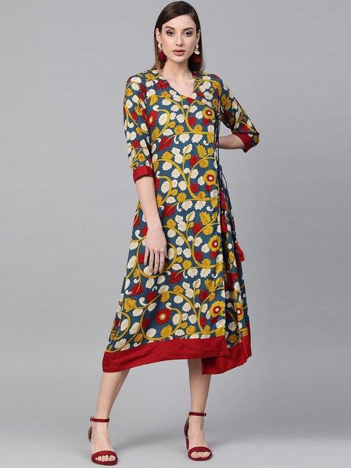 Geroo Jaipur Yellow & Navy Blue Kalamkari Hand Block Printed Rayon Dress