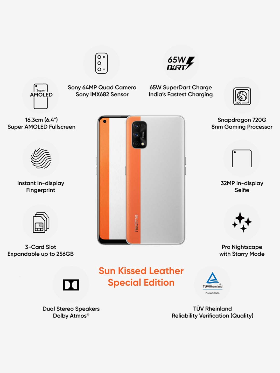 realme 7 Pro 128 GB (Sun Kissed Leather) 8 GB RAM, Dual SIM 4G from realme  at best prices on Tata CLiQ
