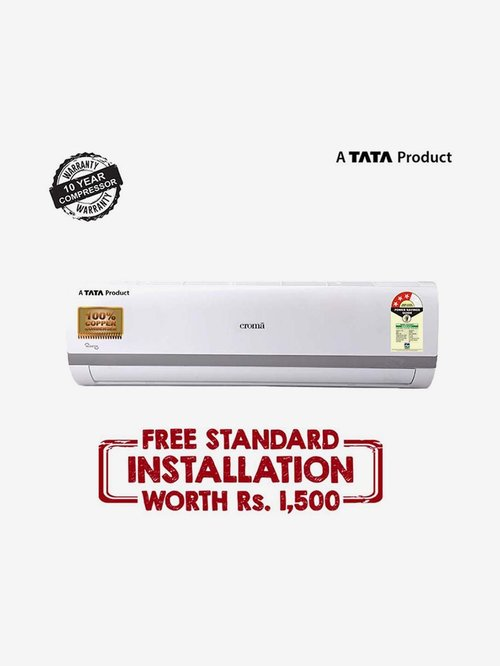 Croma 1 Ton Inverter 3 Star Copper CRAC7556  R32  Split AC  White  Croma Electronics TATA CLIQ